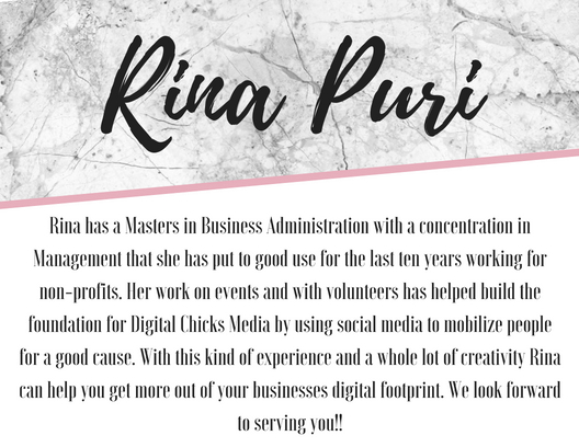 Rina PuriRina has a Masters in Business Administration with a concentration in Management that she has put to good use for the last ten years working for non-profits. Her work on events